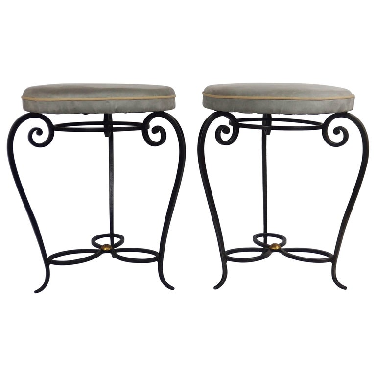1940s Wrought Iron Pair of Stools