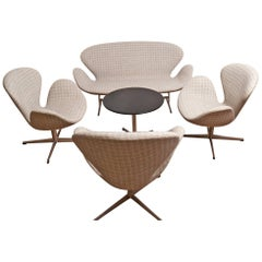 Rare Set of Arne Jacobsen the Swan Armchairs, Sofa and Coffee Table