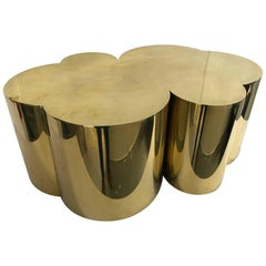 "Brass Coffee Table ""Trèfle"" by Edouard De La Marque"