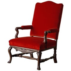 Armchair Swedish Baroque 18th Century Red Sweden