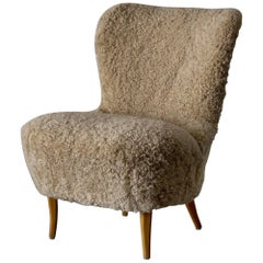 Chair Swedish Sheepskin, 1950s, Sweden