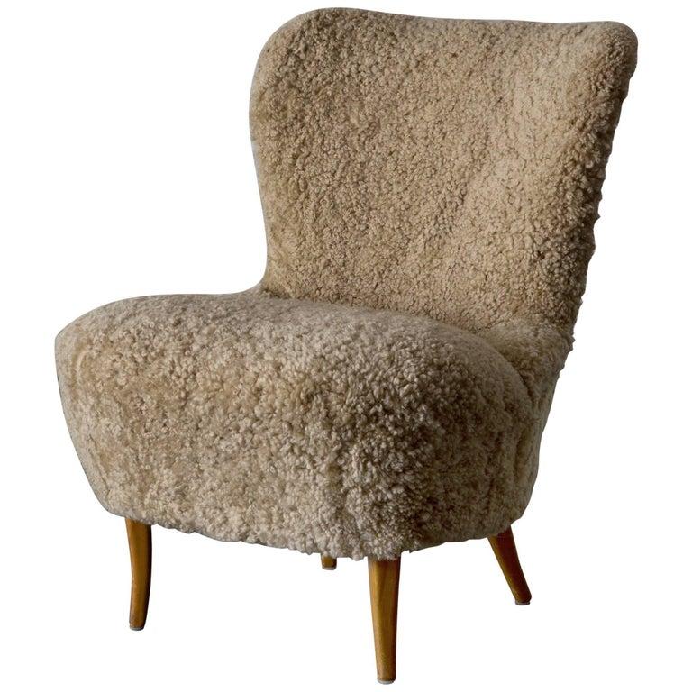 Chair Swedish Sheepskin, 1950s, Sweden For Sale