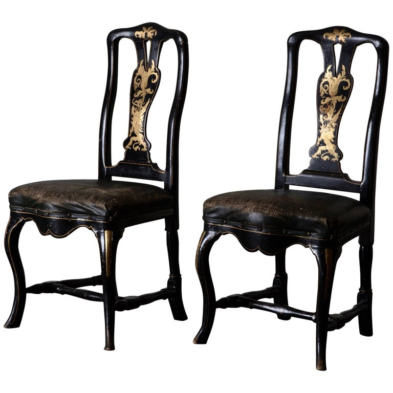 Chairs Pair of Chinoiserie 18th Century Sweden For Sale