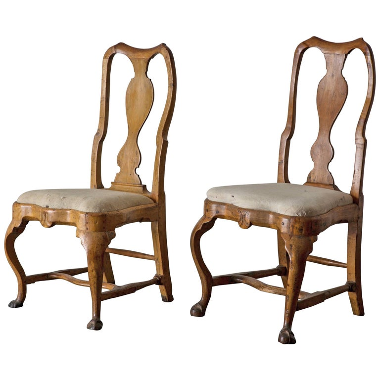 Chairs Pair of Swedish Rococo Period 18th Century, Sweden