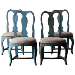 Chairs Dining Swedish Blue Set of Four Rococo, Sweden