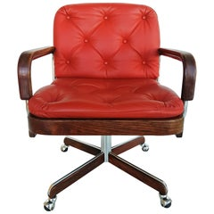Rare Leather Swivel Armchair by Ag Barcelona, circa 1970