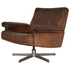 Vintage De Sede DS 35 Swivel Lounge Armchair, 1970s