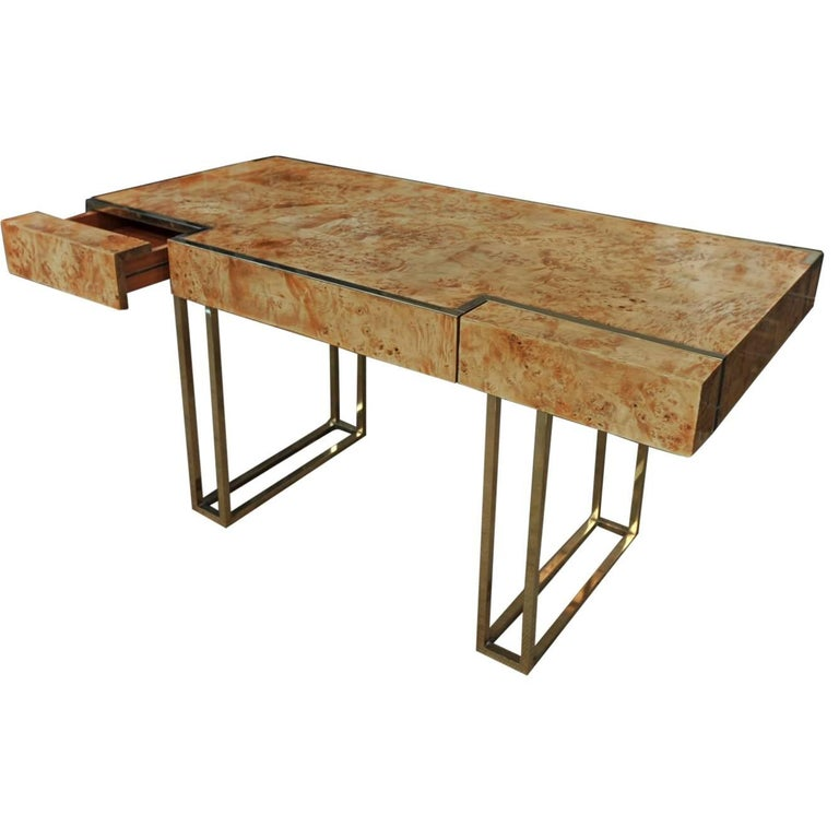 Two-Drawer Desk by Jean Claude Mahey in  Burl wood and brass