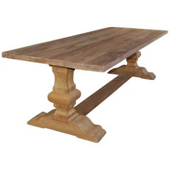 New Rustic Oakwood Monastery Table, Handcrafted