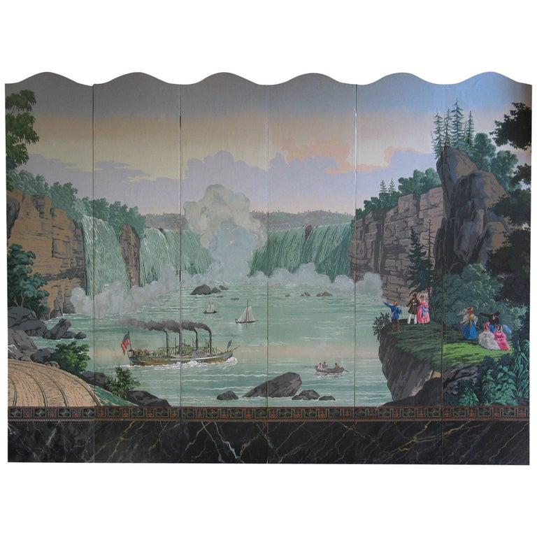 "Zuber Niagara Falls Panels ""Views of North America""  Zuber & Cie. Rixhem, France"