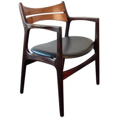 Chair by Erik Buck in Rosewood for Chr Christensens Møbelfabrik Vamdrup, Denmark