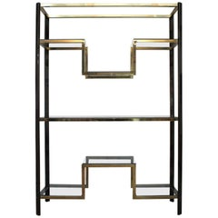 1970s Brass and Smoked Metal Large Etagere by Guy Lefevre for Maison Jansen