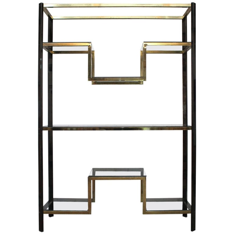 1970s brass and smoked metal large etagere by guy lefevre for maison jansen for sale at 1stdibs. Black Bedroom Furniture Sets. Home Design Ideas