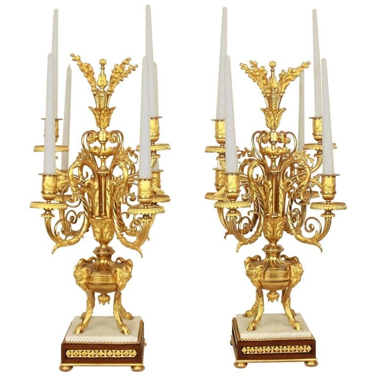 Pair of Louis XVI Style Ormolu Candelabras