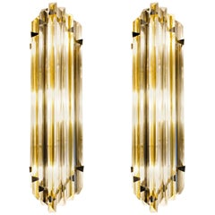 Two Murano Triedri Sconces, Clear with Amber Filigree