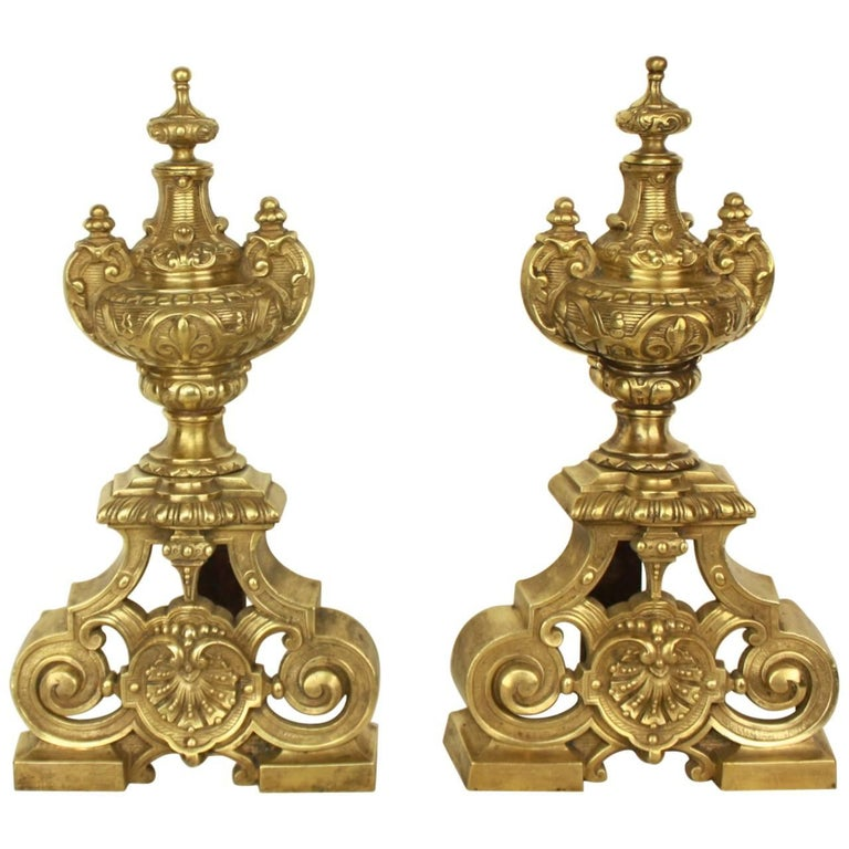 Pair of Regence Style Brass  Andirons or Fire Dogs For Sale