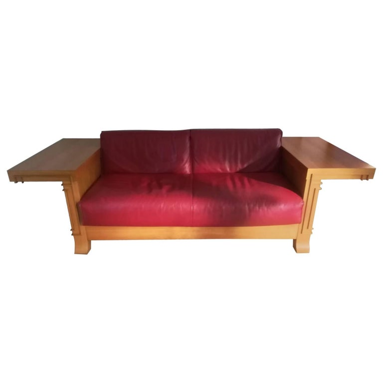 Art Deco Cassina Robie 3 Two-Seat Leather Sofa by Frank Lloyd Wright