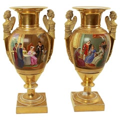 Pair of Empire Porcelain Vases