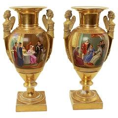 Pair of Empire Porcelain Vases