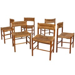 """Set of Six """"Dordogne"""" Chairs by Charlotte Perriand, circa 1950, France"""