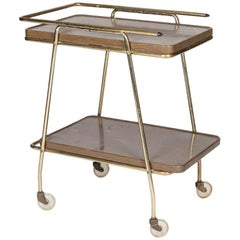 1970s Vintage Two-Shelved Brass Minibar Trolley