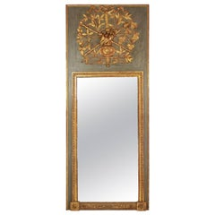 18th Century Provençal Giltwood and Painted Trumeau Mirror