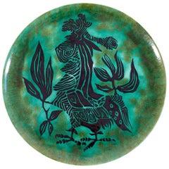 Large Ceramic Platter by Jean Lurçat for Sant Vincens, circa 1964, France
