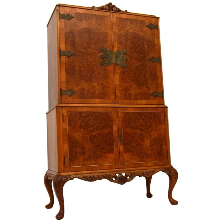 Antique Burr Walnut Cocktail Drinks Cabinet For Sale - Antique Burr Walnut Cocktail Drinks Cabinet At 1stdibs
