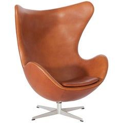 Egg Chair in Cognac Leather by Arne Jacobsen