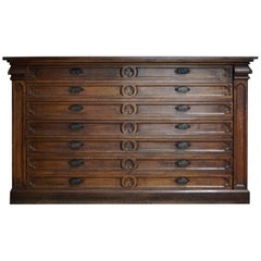 Vintage French Oak Apothecary Cabinet, Late 19th Century
