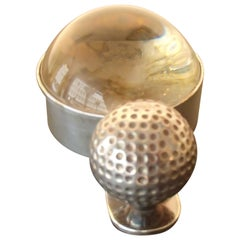 Hermes Paris Silver Plated Golf Ball Magnifying Glass