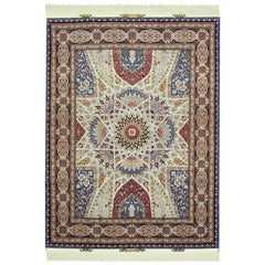 Authentic Contemporary Persian Signed Tabriz Wool and Silk Carpet