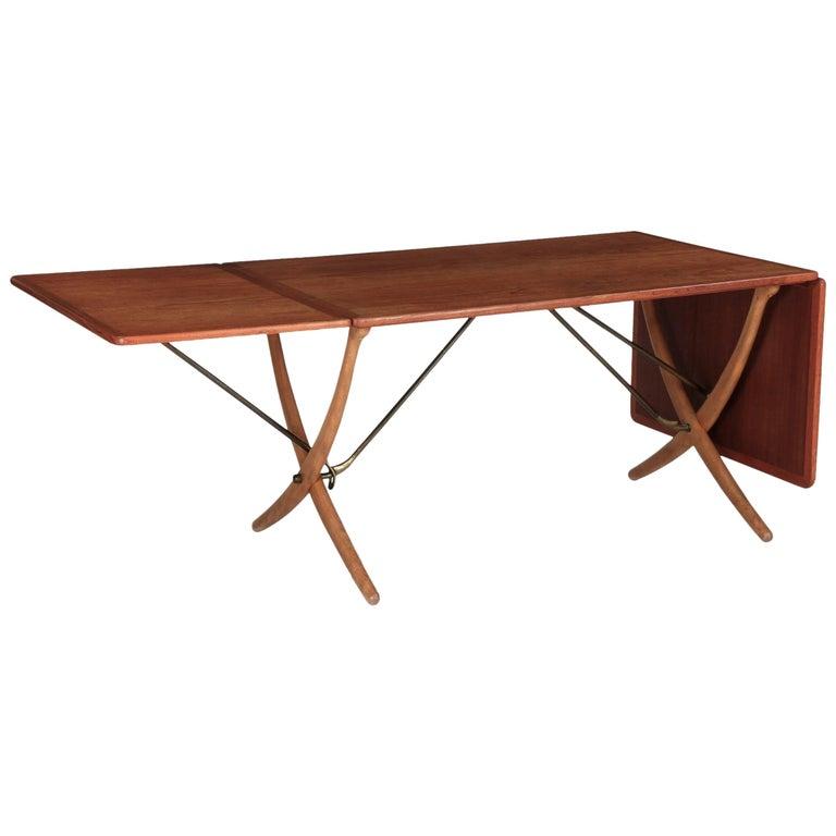 "Hans Wegner Sabre-Leg ""AT-304"" Dining Table, Andreas Tuck, Denmark, 60s For Sale"