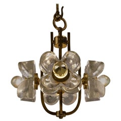 Kalmar flower chandelier glass & brass, 1965, Sische Lighting
