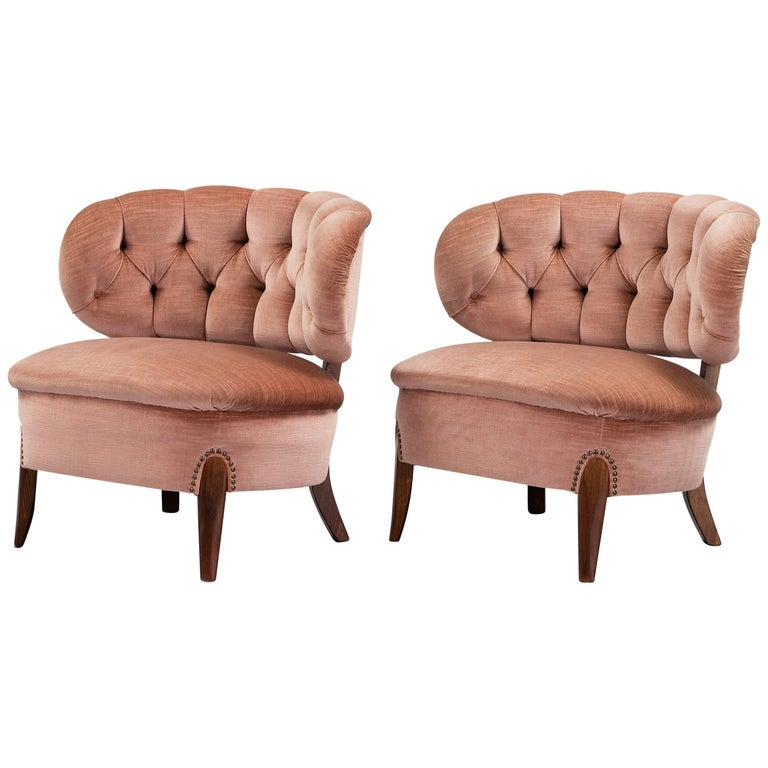 Pair of Scandinavian Modern Pink Velvet Easy Chairs by Otto Schulz, 1950s