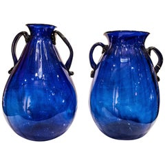 Pair of Blue Murano Crystal Vases