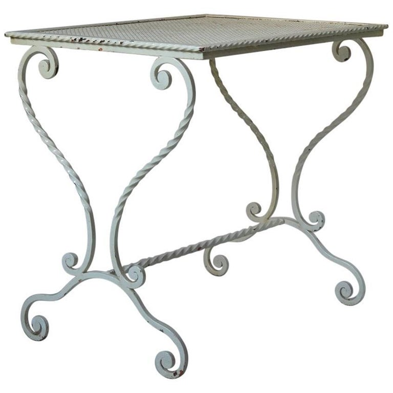 French 1950s Wrought Iron Garden Table