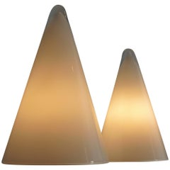 Set Vintage French Opal Glass 'Iceberg' Table Lamps, 1980s