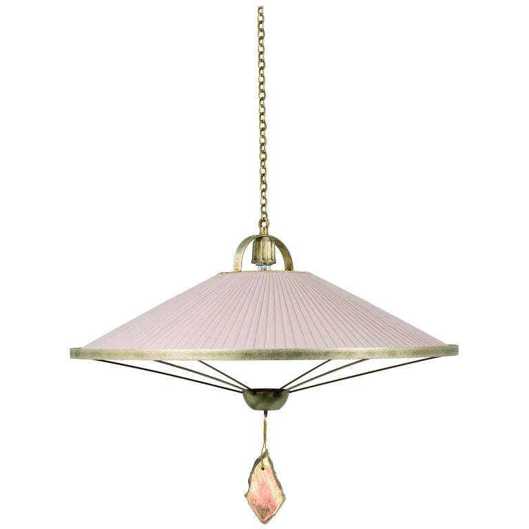 Sunshine Pendant Lamp Chiffon Silk Shade Savanna Color with Silvered Glass Jewel For Sale