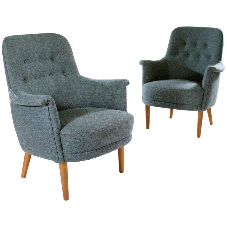 Pair of 'Husmor' Upholstered Easy Chairs by Carl Malmsten, (1888 -1972)