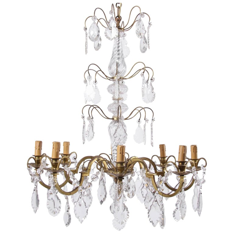 Eight-Branch Crystal Chandelier