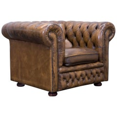 Chesterfield Clubchair Leather Brown Oneseater Couch Retro Vintage