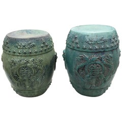 Chinese Vintage Pair Richly Hand-Glazed Blue Garden Stools Seats