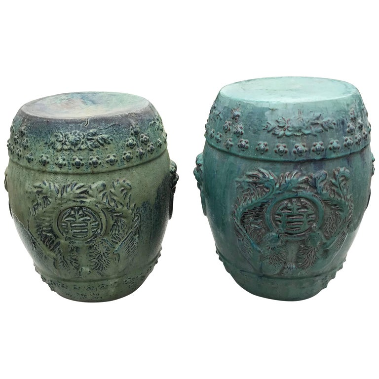 Chinese Vintage Pair Richly Hand Glazed Blue Garden Stools