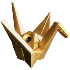 """Japanese Signed Gold Gilt Bronze """"Origami"""" Crane Censer"""