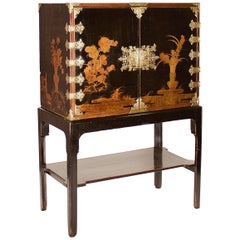 Late 17th Century Japanese Export Brass-Mounted Black Lacquer Cabinet on Stand