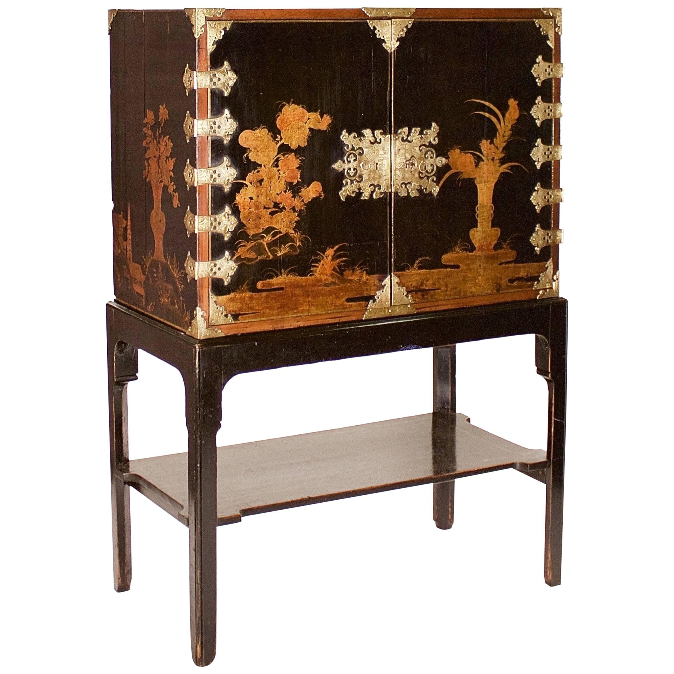 Late 17th Century Japanese Export Brass Mounted Black Lacquer Cabinet On  Stand