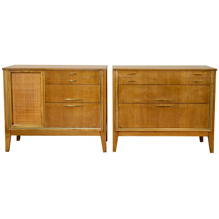 Pair of Midcentury Chests with Brass Detail For Sale