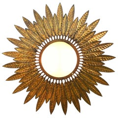 Midcentury Sunburst Wall Light Sconce Ceiling Flush Mount Spanish Sunray Tole