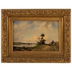 Eugene Le Poittevin Oil on Canvas Farmer on the Towpath, circa 1850